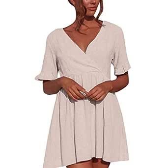 Vestido Casual para Mujer, Cuello en V, Manga Corta, Plisado, Liso ...