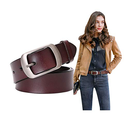 (Genuine Leather Belts For Women Vintage Retro Jeans Belt With Pin Buckle Ladies Bull Leather Waist Belt For Jeans Pants Dresses)