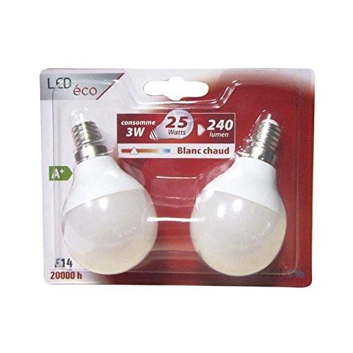 EXPERTLINE Lot de 2 Ampoules LED E14 G45 sphérique 3 W équivalent a 25 W blanc chaud Expert Line