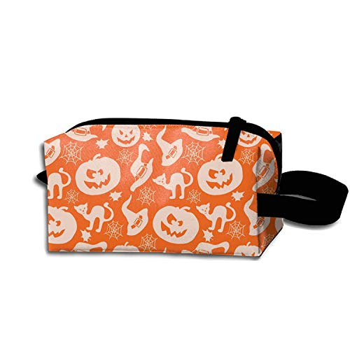 Cosmetic Bags Portable Travel Toiletry Pouch Happy Halloween Kitty Makeup -