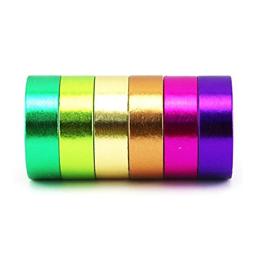 Piokio 6Rolls 32FT Foil Gold Skinny Washi Tape,Solid Color Bright & Colorful Set
