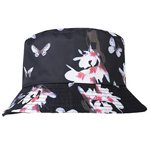 Bucket Butterfly Hat - ZLYC Unisex Cute Print Bucket Hat Summer Fisherman Cap (Butterfly Black)