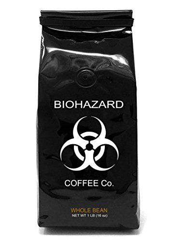Biohazard Whole Bean Coffee, The World's Strongest Coffee 928 mg Caffeine (16 Ounce) (Pound One Yarn Black)