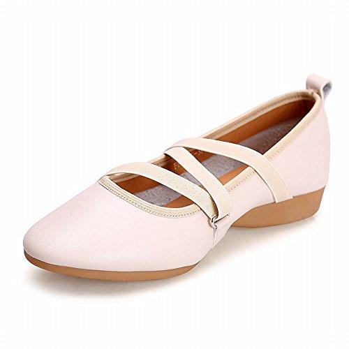 Zapatos Onecolor Modern con Samba Baile Planos de Blanco Jazz Tobillo Blando de BYLE Baile de de Lienzo Zapatos Sandalias Cuero Zapatos Fondo YxqOz1I
