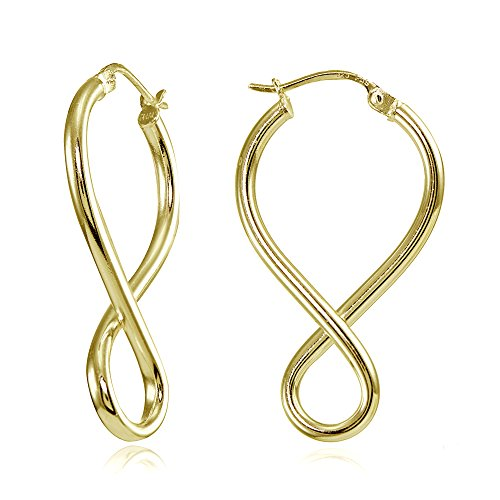 Hoops & Loops Yellow Gold Flashed Sterling Silver Round Tube Figure 8 Infinity Polished Drop Earrings