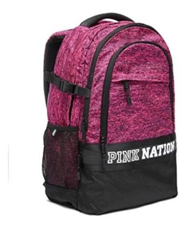 (VICTORIA'S SECRET Pink Nation Collegiate Campus Backpack NEW Color Marl Pink & Black)