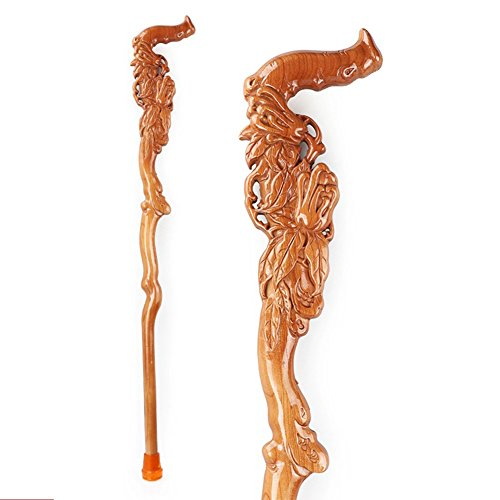 High Quality Phoenix Mahogany Elderly Walking Stick, Solid Wood Fish Hand-Carved Craft Gift,B93cm