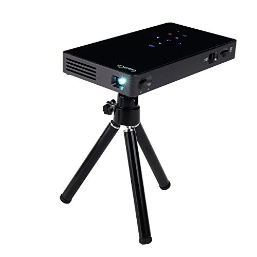 ExquizOn P8I Mini Portable DLP Android 7.0 1G RAM + 8G ROM Smart Projector Support WiFi Bluetooth 4.0 1080P with mini tripod, 2 USB HDMI TF Interfaces for Home Theater Business Meeting Traveling by ExquizOn
