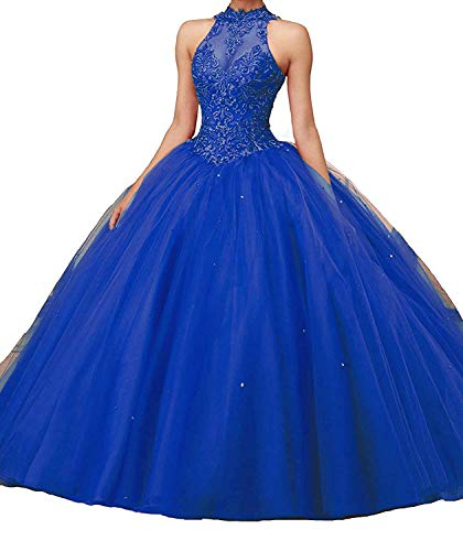 Women's Lace Pageant Quinceanera Dresses Ball Gown Puffy Halter Prom Evening Gowns Royal Blue Custom Size ()