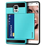 Galaxy S5 Case, Vofolen(TM) Hybrid Armor Galaxy S5 Wallet Case Shock Absorption Rubber Soft Bumper Cover Anti-Scratch Protective Shell with Slide Card Holder Slot for Samsung Galaxy S5 (Sky Blue)
