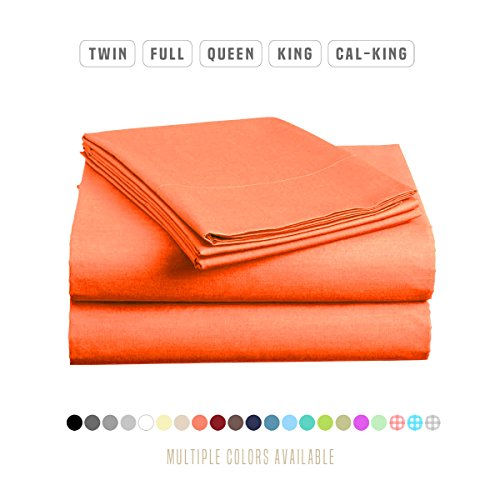 Luxe Bedding Sets - Microfiber Full Sheet Set 4 Piece Bed Sheets, Pillow Cases, Flat Sheet, Deep Pocket Fitted Sheet Set Full Size - Bright Coral (Bright Coral)