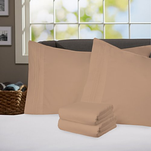 Sweet Home Collection Supreme 1800 Series 4pc Bed Sheet Set Egyptian Quality Deep Pocket - Twin, Camel