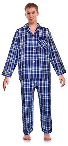 Robes King RK Classical Sleepwear Mens Broadcloth Woven Pajama Set, Size X-Large, Cobalt Blue, Plaid (0174)