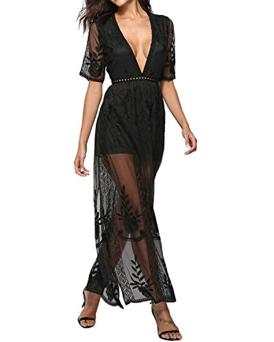 BBYES Women's Sexy Deep V-Neck Lace Romper Short Sleeve Long Dress Sheer Maxi Dresses Black S (Long Sheer Maxi Dress)