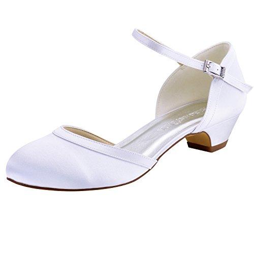 Punta Chiusa Scarpe Cinturino ElegantPark Pompe Alla Da Sposa Sera Caviglia Bianco Satin Donna Da Tacco Grosso EvwX5qX
