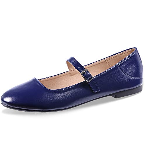 CINAK Flats Mary Jane Shoes Women's Casual Comfortable Walking Buckle Classic Ankle Strap Style Ballet Slip On (5-5.5 B(M) US/ CN37 / 9.2'', Navy Blue)]()