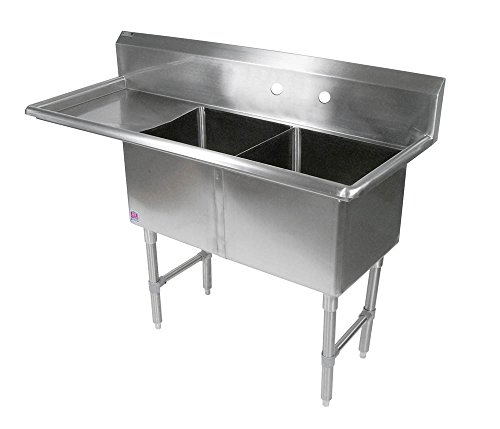 John Boos 2B184-1D18L B Series 2 Compartment Stainless Steel Sink, 18