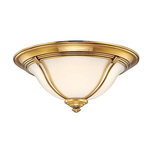 Carrollton 3-Light Flush Mount - Flemish Brass Finish with Opal Glossy Glass Shade