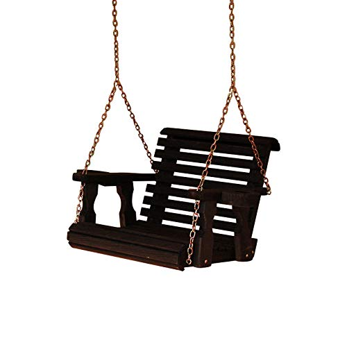 Amish Heavy Duty Roll Back Pressure Treated Swing Chair (Semi-Solid Black Stain)