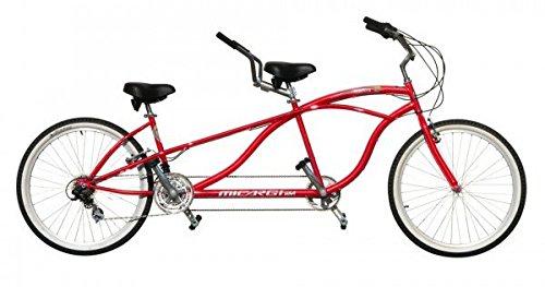 J Bikes by Micargi Island 26' 18-Speed 2-Seater Tandem Bicycle Beach Cruiser Bike - Red