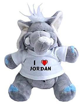 Elefante de peluche (juguete) con Amo Jordan en la camiseta