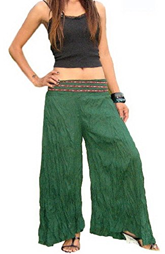 Womens Comfy Chic Boho Palazzo Gaucho Lounge Pant (Pink) - 5