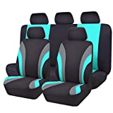 NEW ARRIVAL- CAR PASS Line Rider 11PCS Universal Fit Car Seat Cover -100% Breathable With 5mm Composite Sponge Inside - Airbag Compatible (Black And Mint Blue)