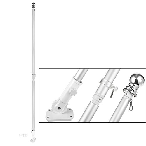 (Juvale Outdoor Metal Flag Holder Mounting Bracket and Pole Set for Home, 72)