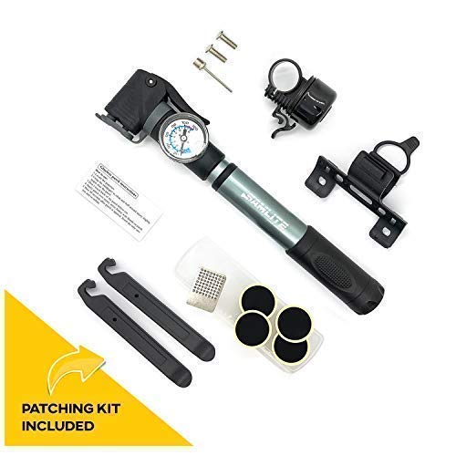 SAMLITE New Mini Bike Pump Portable Bicycle Frame Pump Glue Less Puncture Repair Kit Presta and Schrader Valve Includes Mount Kit Pressure 120 PSI 8 Bar Free Bike Bell Sports Needle Included