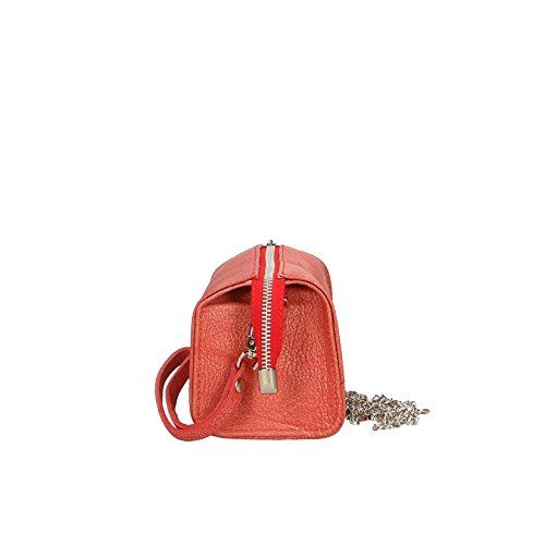Chicca Borse Bolso de embrague Mujer in echtem Leder Made in Italy 18x10x10 Cm Coral