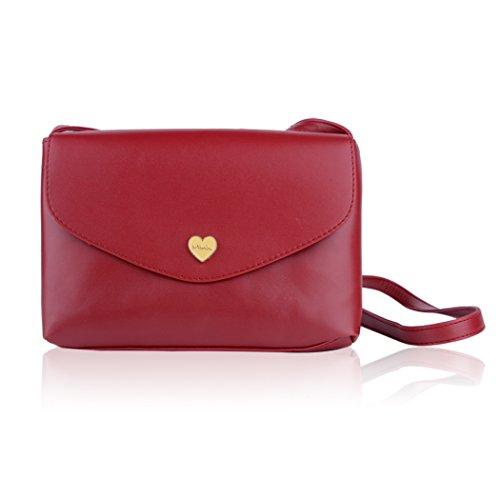Donna Tote - All4you borsa Messenger Bag borsa Versatile Mini spalla Vintage-partita Bag(Red)
