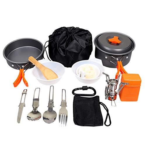 Goetland Camping Cookware Mess Kit Backpacking Cookset Outdoor Hiking Picnic Non-Stick Cooking Pan Folding Spork Nylon Bag 16 pcs ()