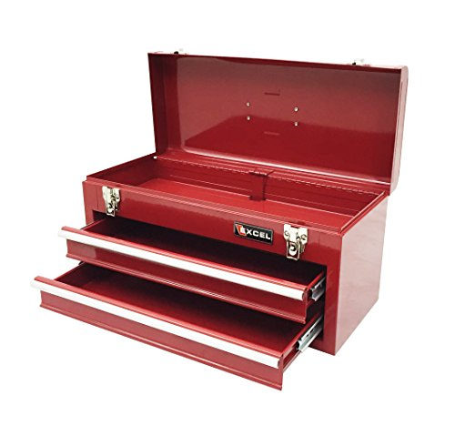 Excel TB132-Red 20-Inch Portable Steel Tool Box Red