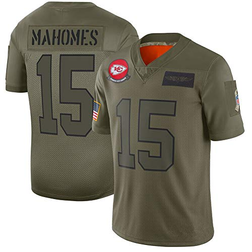 LQsy NFL Jersey Uniforme De Fútbol New Chief 15# Mahomes 87# Kelce Camiseta Verde Militar Camiseta De Manga Corta…