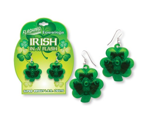 Flashing Light Up St Patricks Day Irish Shamrock Earrings-One Pair