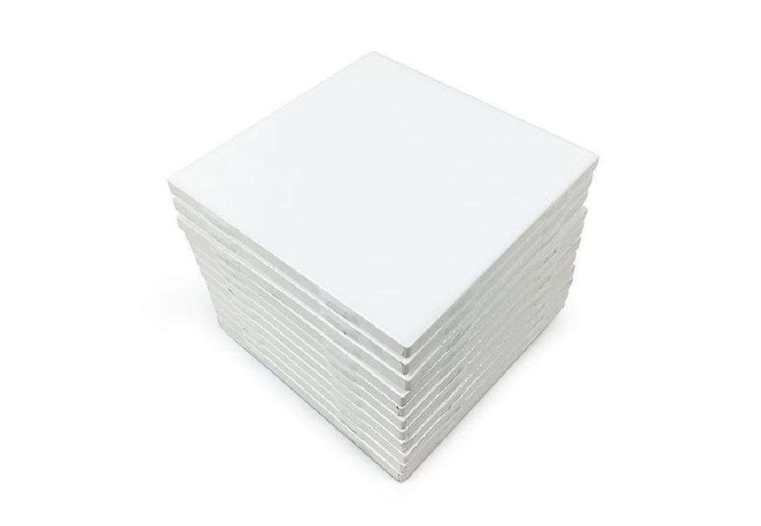 Glossy White Ceramic Tiles 4 1/4'' by 4 1/4'' Set of 10 with 25 Page Full Color How to Decorate Tile Guide
