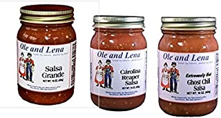 product image for Ole & Lena 3 Pack EXTREMELY HOT Salsa - Ghost Chili Salsa, Salsa Grande, Carolina Reaper