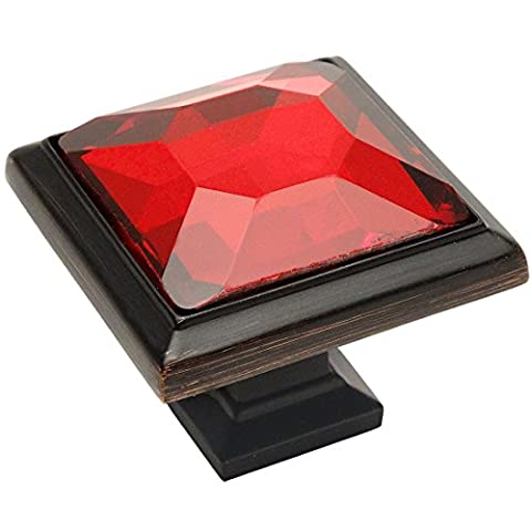 Cosmas 5883ORB-R Oil Rubbed Bronze Cabinet Hardware Square Knob with Red Glass - 1-1/4