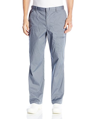 Landau Men's Stretch Rip Stop Zip Fly Cargo Pocket Scrub Pant with Belt Loops, Steel, Large