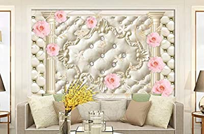 3D Wallpaper - European Soft Bag Rose Pattern Living Room Tv Background - Removable Wall Mural | Self-Adhesive Large Wallpaper