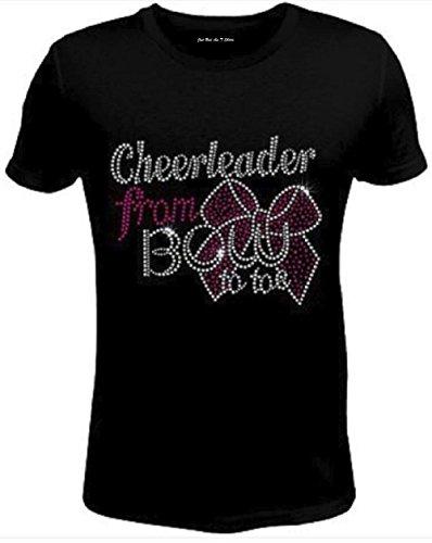 Rhinestone Rhinestone Womens T Shirt Bow Over Bro Cheer JRW-452 - XL/Women Short-Sleeve-Crewneck-T-Shirt Black