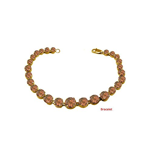 June Birthstone Prong Set Smokey Quartz Bracelet 18kt Yellow Gold over Sterling Silver
