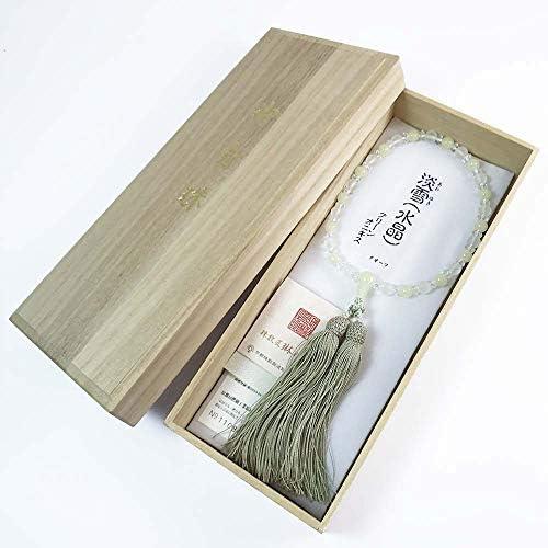 女性用数珠「淡雪水晶×グリーンオニキス:正絹松風頭房」桐箱入【京念珠匠琳之証書タグ付】