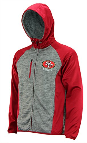 G-III Sports Mens NFL Heathered Grey Solid Fleece Full Zip Hooded Jacket, San Francisco 49ers Small (Mens Jacket G-iii)