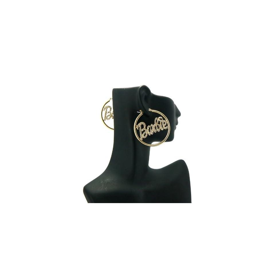 NICKI MINAJ BARBIE Thin Hoop Rhinestone Earring Small Gold/Clear