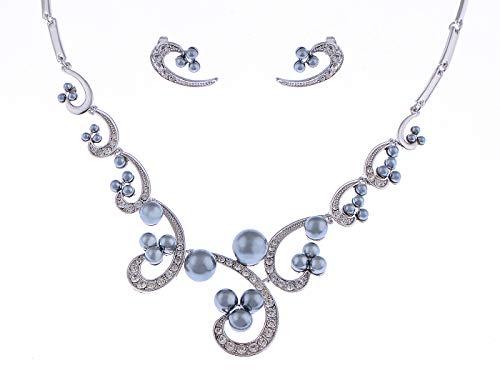 Faux Black Pearl Swirl Bridal Swarovski Crystal Rhinestone Necklace Earring Set