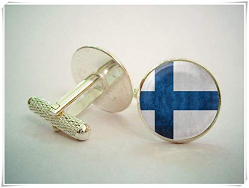 hong ben xie chang Finland Flag Cufflinks,Exquisite Jewelry, Dome Glass Jewelry, Handmade. (Finnish Coat Arms Of)