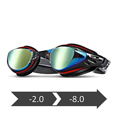 WAVE Prescription Swim Goggles Mirror Coated, Optical Corrective Swimming Goggles Scratch Resistant, Anti-fog, UV Protection Nearsighted, Allergy-free, Free Ear Plugs & Nose Piece (Black, - Lenses Prescription Mirrored