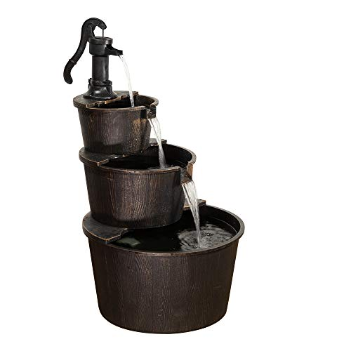 Alpine Corporation 3-Tier Rustic Pump Barrel Fountain - Outdoor Waterfall for Garden, Patio, Deck, Porch - Yard Art Decor