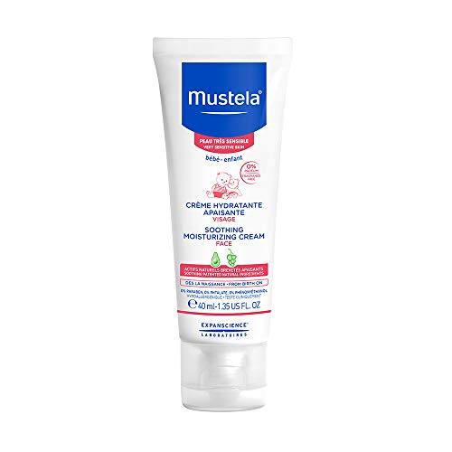 Mustela Soothing Moisturizing Cream, Baby Face Cream with Natural Avocado Perseose, for Very Sensitive Skin, Fragrance-Free, 1.35 Fl. Oz.
